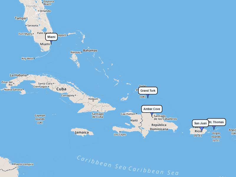 Carnival Cruise Line Eastern Caribbean 7-day route