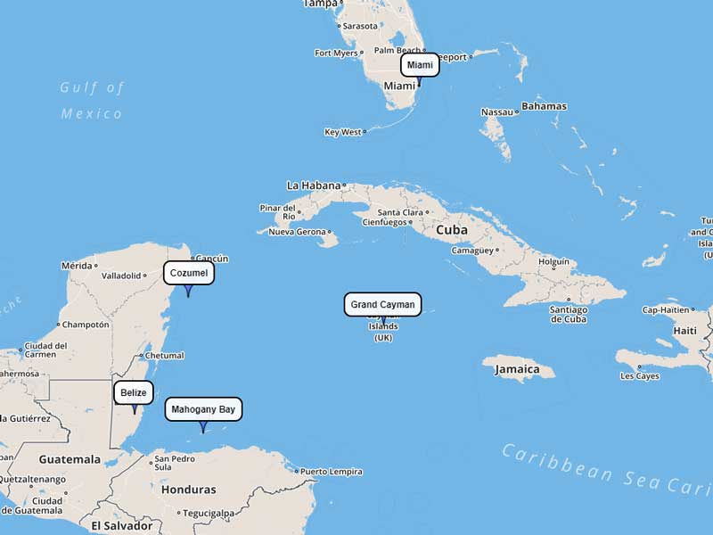 Carnival Cruise Line Western Caribbean 7-day route